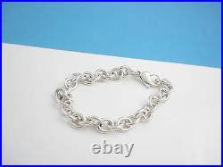 Tiffany & Co Silver Link Charm 7.5 Inch Chain Bracelet Bangle Cuff