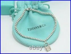 Tiffany & Co. Silver Mini 1837 Lock Charm Mini Ball Bead Bracelet