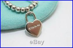 Tiffany & Co. Silver Mini Heart Lock Charm Mini Ball Bead Bracelet