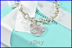 Tiffany & Co Silver Notes Round Wavy Circle Disc 7.5 Charm Bracelet +POUCH Love