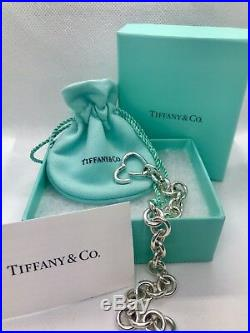 Tiffany & Co Silver Open Heart Clasp Large Link Charm Bracelet with Box