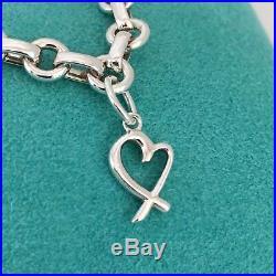 Tiffany & Co Silver Paloma Picasso Loving Heart Oval Link Charm Bracelet