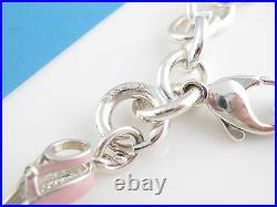Tiffany & Co Silver Pink Enamel Ballet Diamond Shoes Slipper Charm Bracelet