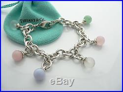 Tiffany & Co Silver Pink Purple Gemstone Dangle Charm Bracelet Bangle Rare