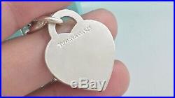 Tiffany & Co Silver Plain Heart Tag Charm Bangle Bracelet 7.5in / 35 gr. 190709B