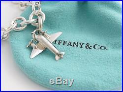 Tiffany & Co Silver Plane Airplane Charm Bracelet Bangle