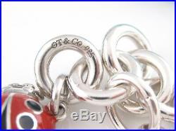 Tiffany & Co Silver Red Black Enamel Ladybug Charm Bracelet Bangle