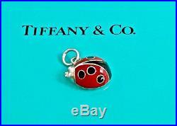 Tiffany & Co. Silver Red Black Enamel Ladybug Charm Pendant for Bracelet 18102A
