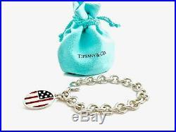 ff7bcfda36d9a Tiffany & Co Silver Red Blue Enamel American flag Charm Bracelet ...