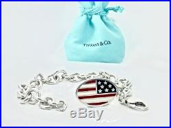 Tiffany & Co Silver Red Blue Enamel American flag Charm Bracelet 8.25L 18519A