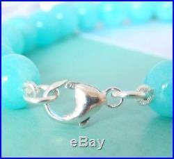 Tiffany & Co Silver Return To Heart Charm Blue Amazonite Bead Ball Bracelet