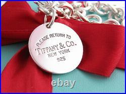 Tiffany & Co Silver Return To Tiffany Circle Round Charm Pendant Bracelet 7.75
