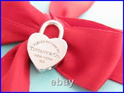 Tiffany & Co Silver Return To Tiffany Heart Padlock Charm For Necklace Bracelet
