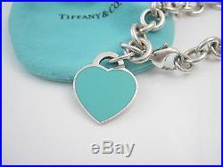 Tiffany & Co Silver Return to Tiffany Blue Enamel Heart Charm Bracelet