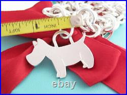 Tiffany & Co Silver Scottie Dog Woof Puppy Charm Tag Bracelet 7.5