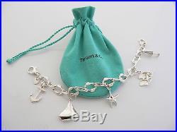 Tiffany & Co Silver Seas Anchor Fish Boat Starfish Charm Bracelet Bangle 7.75 In