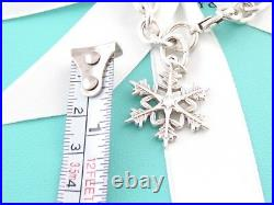 Tiffany & Co Silver Snowflake Snow Flake Charm Bracelet Box Included
