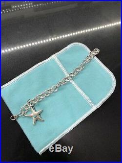 Tiffany & Co Silver Starfish Turquoise Charm Bracelet Bangle Chain