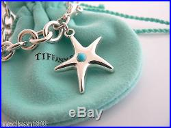 Tiffany & Co Silver Starfish Turquoise Charm Bracelet Bangle Chain Excellent
