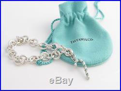 Tiffany & Co Silver Turquoise Blue Enamel Candy Cane Charm Bracelet Bangle