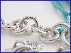 1be528edfed1 Tiffany   Co Silver Turquoise Blue Enamel Candy Cane Charm Bracelet Bangle