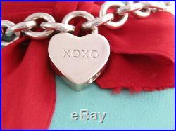 Tiffany & Co Silver Xoxo Padlock Heart Charm Bracelet 7.5