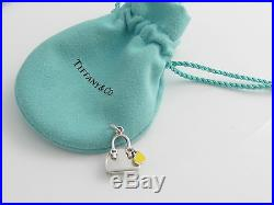 Tiffany & Co Silver Yellow Enamel Heart Handbag Purse Charm 4 Necklace Bracelet