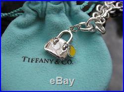 Tiffany & Co Silver Yellow Enamel Heart Handbag Purse Charm Bracelet Bangle