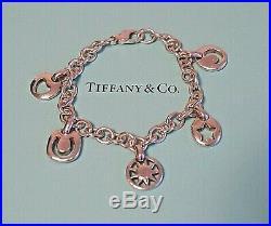 Tiffany & Co Sterling 925 Silver 5 Charm Bracelet Sun Moon Heart Star Horseshoe
