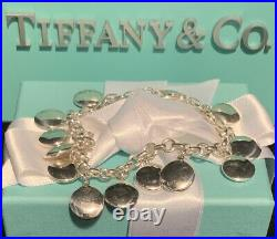 Tiffany&Co Sterling Disc Charm Bracelet Silver Circle Round Discs with Box & Pouch