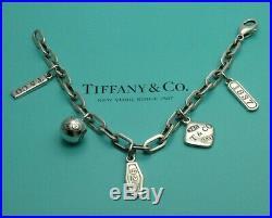 Tiffany & Co Sterling Silver 1837 5 Charm Bracelet 7 1/4 Oval Links