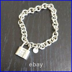 Tiffany & Co. Sterling Silver 1837 Link Padlock Charm Bracelet NO BOX Used 3