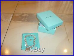 Tiffany & Co Sterling Silver 1837 Pad Lock Charm 6.5 Chain Bracelet POUCH box