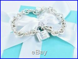 Tiffany & Co Sterling Silver 1837 Pad Lock Charm 7.25 Chain Bracelet +POUCH