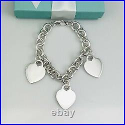 Tiffany & Co Sterling Silver 3 Three Charm Blank Heart Tag Charm Bracelet