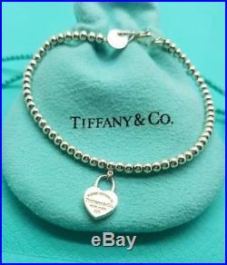 Tiffany & Co Sterling Silver 3mm Ball Bead Bracelet With Small Padlock Charm 7