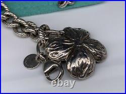 Tiffany & Co. Sterling Silver 7 Dogwood Flower Charm Bracelet in Pouch & Box