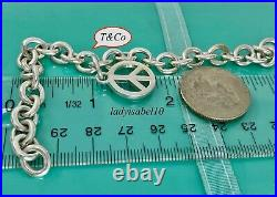 Tiffany & Co. Sterling Silver 7 Peace Charm Bangle Bracelet with Box Gift 2112A