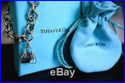 Tiffany Co Sterling Silver 925 Blue Enamel Purse Charm w Tiffany Link Bracelet