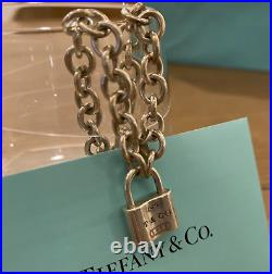 Tiffany & Co. Sterling Silver 925 Chain Link 1837 Padlock Charm Bracelet Exc++