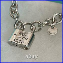 Tiffany & Co Sterling Silver 925 Chain Link 1837 Padlock Charm Bracelet NO BOX 3