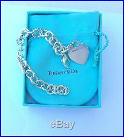 Tiffany & Co Sterling Silver 925 Heart Tag Charm Bracelet 7.25 (BOX & BAG INC)