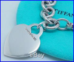 Tiffany & Co Sterling Silver/925 Heart Tag Charm Rolo Bracelet-7.5 withPouch