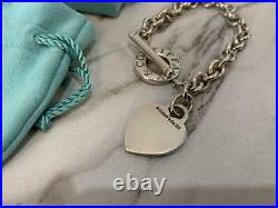 Tiffany & Co. Sterling Silver 925 Heart Tag Toggle Charm Bracelet NO BOX / 3