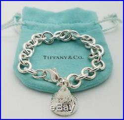 Tiffany Co Sterling Silver 925 Hershey Kiss Charm Rolo Chain Bracelet 7' in