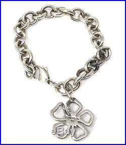 Tiffany & Co Sterling Silver 925 Open Stencil Daisy Flower Charm Bracelet