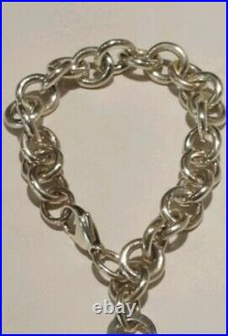 Tiffany & Co Sterling Silver 925 Return To Heart Tag Charm Bracelet 7.5