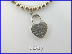 Tiffany & Co Sterling Silver Bead Bracelet Heart Charm 6.75