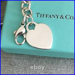 Tiffany & Co Sterling Silver Blank Heart Tag Charm Bracelet with Box