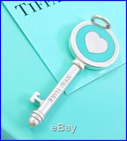 Tiffany & Co Sterling Silver Blue Enamel Key Heart Charm Pendant 1.65in 190802C